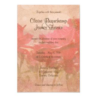 Boda floral rosado del vintage invitación 12,7 x 17,8 cm