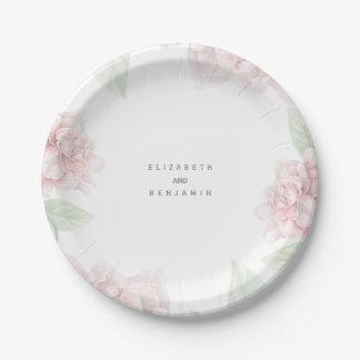 Boda floral rosado suave elegante del jardín de la plato de papel