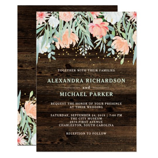 Boda floral rústico de la acuarela del romance el invitación 12,7 x 17,8 cm