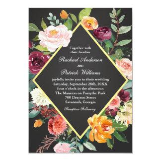 Boda floral rústico de la pizarra invitación 12,7 x 17,8 cm