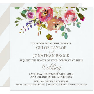 Boda floral simple del cuadrado del ramo de la invitación 13,3 cm x 13,3cm