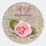 boda floral subió rosa elegante del país de la pegatinas redondas