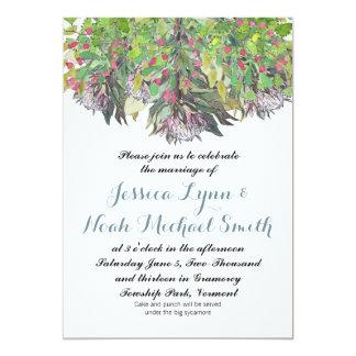 Boda floral verde púrpura del rosa de la acuarela invitación 12,7 x 17,8 cm