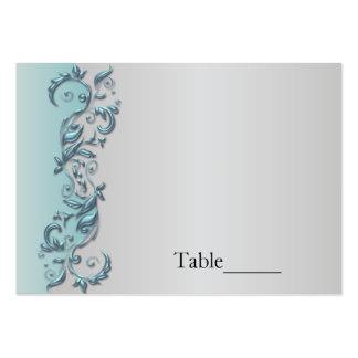 Boda florido azul claro y de plata elegante tarjetas de visita grandes