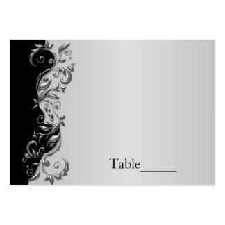Boda florido negro y de plata elegante tarjetas de visita grandes
