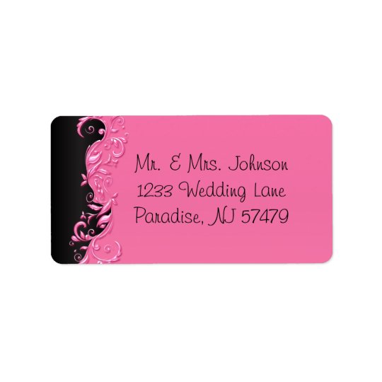 Boda florido negro y rosado elegante etiquetas de dirección