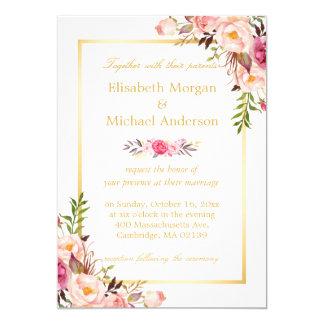Boda formal blanco del oro elegante floral invitación 12,7 x 17,8 cm