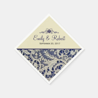 Boda formal elegante de los azules marinos de servilletas desechables