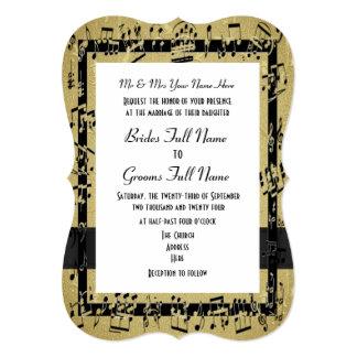 Boda formal elegante de oro elegante de la hoja de invitación 12,7 x 17,8 cm