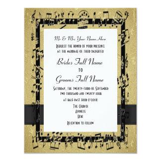 Boda formal elegante de oro elegante de la hoja de invitación 10,8 x 13,9 cm