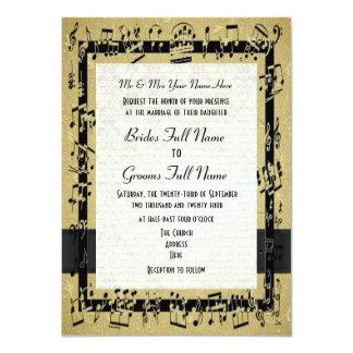 Boda formal elegante de oro elegante de la hoja de invitación 11,4 x 15,8 cm