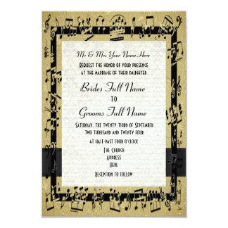 Boda formal elegante de oro elegante de la hoja de invitación 8,9 x 12,7 cm