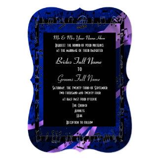 Boda formal elegante del damasco de los azules invitación 12,7 x 17,8 cm
