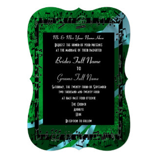Boda formal elegante del damasco verde invitacion personalizada