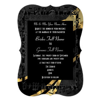 Boda formal elegante del oro negro elegante comunicados personalizados