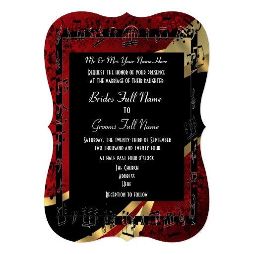 Boda formal elegante del oro rojo elegante del dam invitacion personal