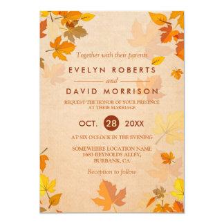 Boda formal rústico de las hojas de otoño del oro invitación 12,7 x 17,8 cm