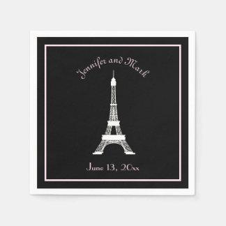 Boda francés blanco rosado negro elegante de la servilleta desechable