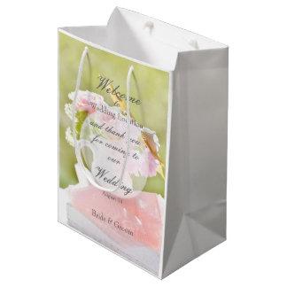 Boda fresco del ramo de la flor de la primavera bolsa de regalo mediana
