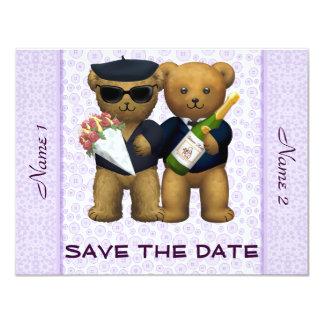 Boda gay - ahorre la fecha - lila de los osos de invitación 10,8 x 13,9 cm