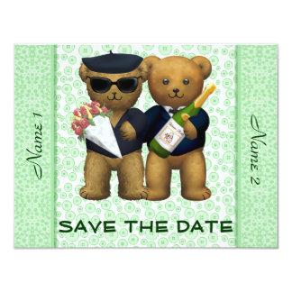 Boda gay - ahorre la fecha - osos de peluche Apple Invitación 10,8 X 13,9 Cm