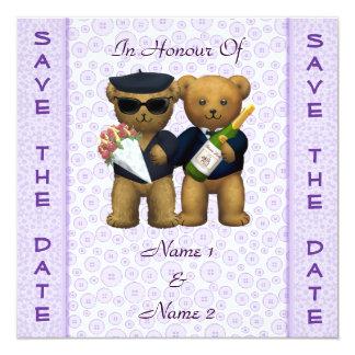 Boda gay - ahorre la fecha - osos de peluche de la invitación 13,3 cm x 13,3cm