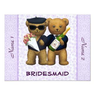Boda gay - dama de honor - lila de los osos de invitación 10,8 x 13,9 cm