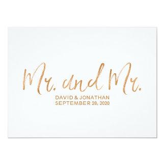 """Boda gay de cobre elegante """"Sr. y Sr."""" muestra Invitación 16,5 X 22,2 Cm"""