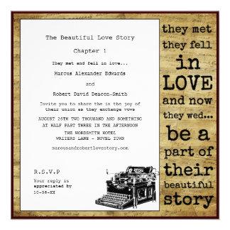 Boda gay de la máquina de escribir del vintage anuncios personalizados