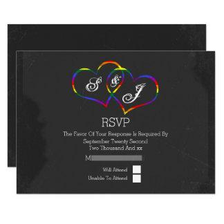 Boda gay de la pizarra del corazón del Doodle del Invitación 8,9 X 12,7 Cm