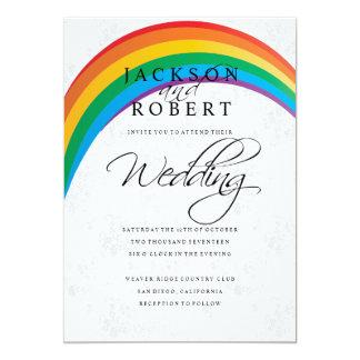 Boda gay del arco iris invitación 12,7 x 17,8 cm
