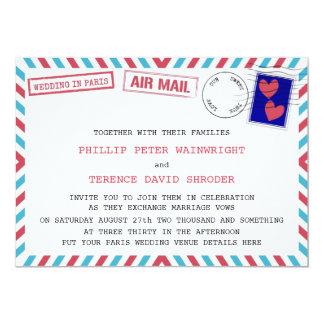 Boda gay del correo aéreo en las invitaciones de invitación 12,7 x 17,8 cm