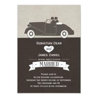 Boda gay del novio del coche dos del boda invitación 12,7 x 17,8 cm