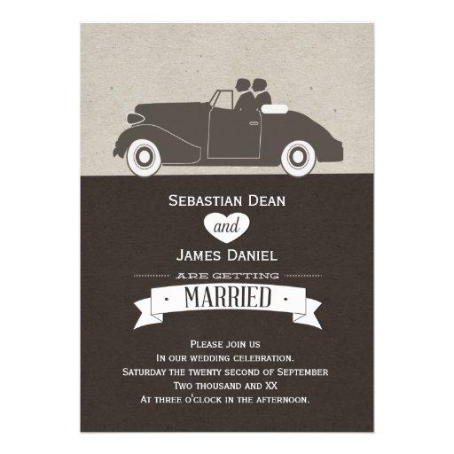 Boda gay del novio del coche dos del boda comunicado personal