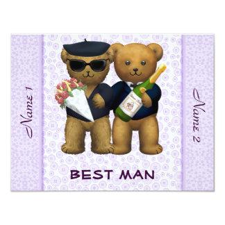 Boda gay - el mejor hombre - lila de los osos de invitación 10,8 x 13,9 cm