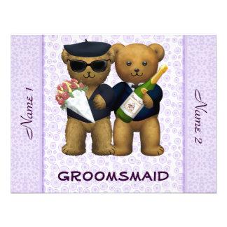 Boda gay - Groomsmaid - lila de los osos de peluch Invitaciones Personales