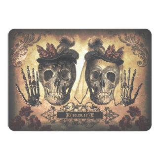 Boda gótico de los cráneos femeninos lesbianos gay invitación 12,7 x 17,8 cm