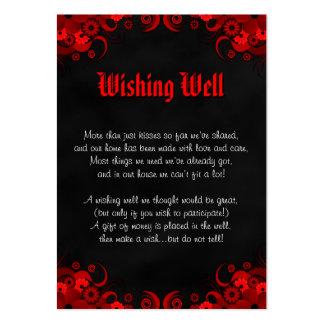 Boda gótico floral rojo negro que desea tarjetas tarjetas de visita grandes