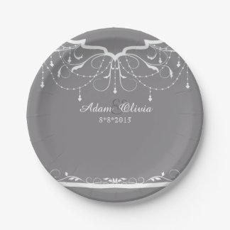 Boda gris de la lámpara floral elegante plato de papel
