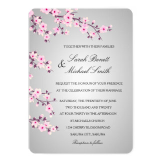 Boda gris del rosa floral de las flores de cerezo invitación 12,7 x 17,8 cm