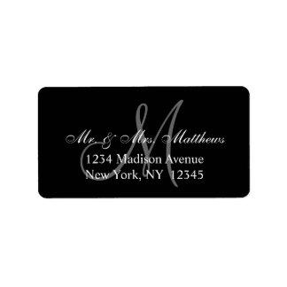 Boda gris negro elegante del monograma etiquetas de dirección