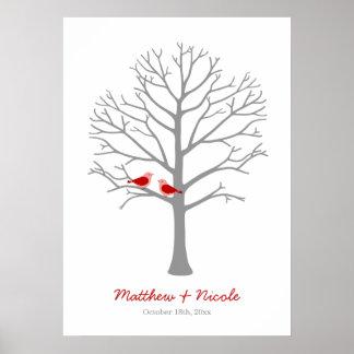 Posters de árboles de huella para bodas en Zazzle
