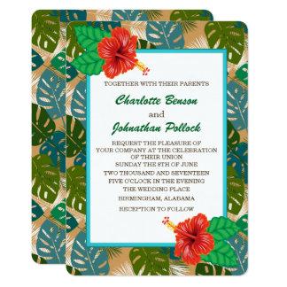 Boda hawaiano de la flor del hibisco del follaje invitación 12,7 x 17,8 cm