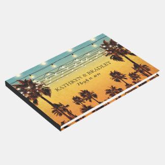 Boda hawaiano de la palma tropical de la playa del libro de invitados