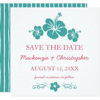 Boda hawaiano del hibisco - ahorre la fecha invitación 13,3 cm x 13,3cm
