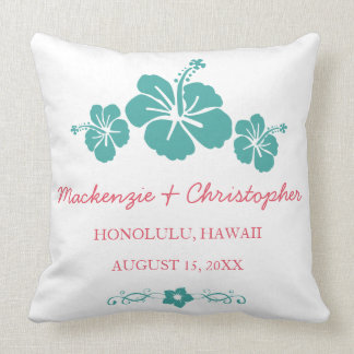 Boda hawaiano del hibisco cojín decorativo