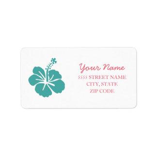 Boda hawaiano del hibisco etiquetas de dirección