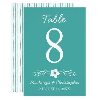 Boda hawaiano del hibisco - tarjeta de la tabla invitación 8,9 x 12,7 cm