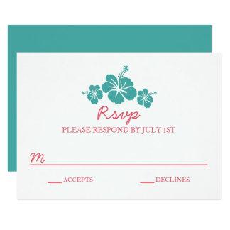 Boda hawaiano del hibisco - tarjeta de RSVP Invitación 8,9 X 12,7 Cm