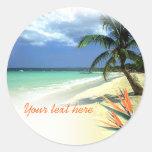 Boda hawaiano jamaicano tropical pegatinas redondas